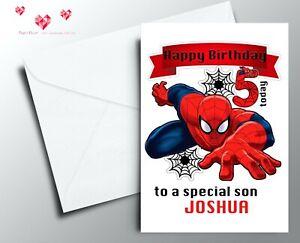 Personalised SPIDERMAN Birthday Card Marvel Avengers IronMan Son Grandson Nephew