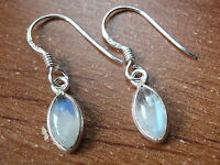 Very Small Blue Moonstone Earrings 925 Sterling Silver Dangle Drop New