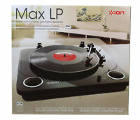 Ion Turntable Audio Max LP Conversion with Stereo Speakers in Black