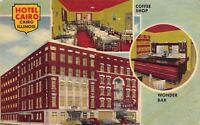 Cairo Illinois~Hotel Cairo Inside Out~Coffee Shop~Wonder Bar~1951 Linen Postcard