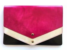 Pratesi Envelope Clutch Document Holder Bag Pink NEW Firenze Italian Leather