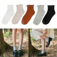 Solid Colors Womens Girls Casual Breathable Cotton Socks Cute High Ankle Socks