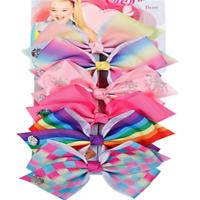 NEW 6 Pcs/Set Rainbow Printed Knot Ribbon Bow Hair Chip For Kids Girls Hair bow