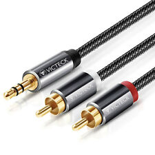 Nylon Braided 2 RCA Audio Plug To 3.5mm Phono Cable 2M Splitter Gold Plated