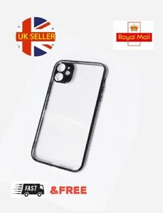 Case for iPhone 11 Clear TPU Gel Black Chrome Bumper with lens protection 🇬🇧