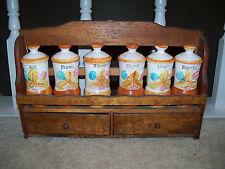 Vintage Wood Spice Rack 6 Ceramic Jars Japan Hanging with Drawers