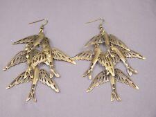 "Bronze long sparrow birds dangle earrings lightweight 4"" long"