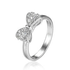 JewelryPalace Bow Cubic Zirconia Anniversary Wedding Ring 925 Sterling Silver