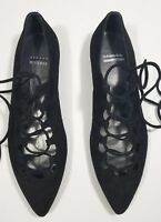 Stuart Weitzman Flats Pointy Toe Tyler Lace Up Black Suede-US 6
