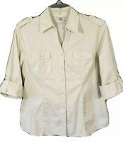 HARVE BENARD Button Front Blouse Top Shirt Womens XL Roll Tab Short Sleeve Beige