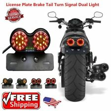 Motorcycle LED Dual Tail Turn Signal Brake License Plate Integrated Light HP