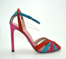 GUCCI MULTI CRYSTAL SUEDE LEATHER HEELS SANDALS SHOES MADE IN ITALY EU 38 UK 5