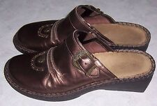 DUCK HEAD Gold Bronze Leather Mules Wedge Heels Womens Shoes Size 10M EUC