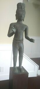 Old Large Khmer Style Standing Male Bodhisattva - CAMBODIA - Early 20th Century