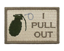 I Pull Out Grenade Subdued Tactical Hook & Loop Embroidered Morale Tags