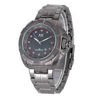 AK Analog Black Dial Stainless Steel Date Men's Army Military Sport Quartz Watch