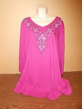 New Plus Size Top Size 4X Catherines TShirt Casual Pink Studded Tunic 30-32W