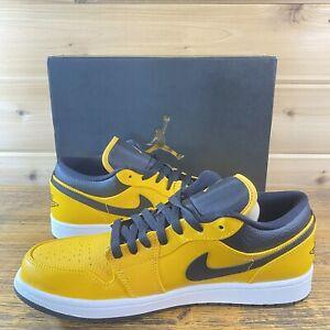 New Nike Men's Air Jordan 1 Low University Gold Black White Sneaker 553558-700