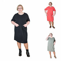 Italian Lagenlook Short Sleeve Cotton Dress Tunic Plus Size 14-20