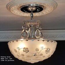 785b Vintage antique arT Deco Glass Shade Ceiling Light Lamp Fixture Chandelier
