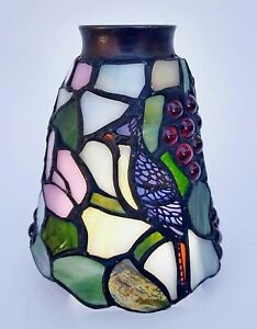 Tiffany Style Leaded Stained Glass Lamp Shade with Bird, Grapes and Flowers