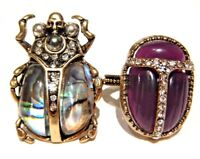 SCARAB BEETLE CRYSTAL RING brass rhinestone shell Egyptian revival art deco Z5
