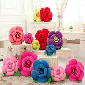 Fashion Sofa Chair Car Pillow Cushion 3D Rose Flower Shaped Decorative Cushion