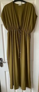 Worn Once ZARA Olive Green Maxi Kaftan Dress/Long Jacket M 10/12/14