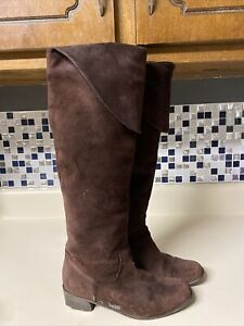 Tall Kennet Cole NY Boot Block Heel Suede Leather Brown Fold Over Top Pirate 6.5