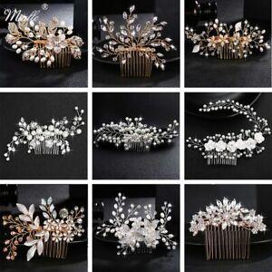 Wedding Crystal Peal Hair Combs Bridal Hair Clips Accessories Jewellery Handmade