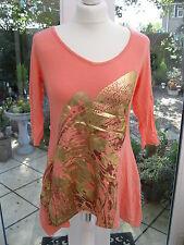 Antthony Designs 3/4 Sleeve Handkerchief Hem Embellished Tunic Coral XS BNWT