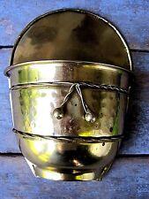 Vintage Gold Tone Metal Wall Pocket Home & Garden Hanging Planter Pot Basket