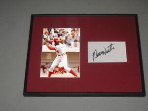 George Foster Signed Framed Matted Index Card Cincinnati Reds Baseball Hologram