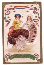 1907 Thanksgiving Greetings Embossed Postcard Large Turkey Stars & Stripes SB259