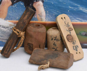 Vintage Japanese Wood Fishing Floats, Lot of 5