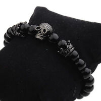 DouVei Fashion Charm Jewelry Black CZ Skull 4mm Beaded Bracelets Men Women New