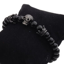 DouVei Fashion Charm Jewelry Black CZ Skull 4mm Beaded Bracelets Men Women New