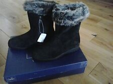 CAPRICE 100% LEATHER SHEEPSKIN BOOTS 9-26459-21 BLACK SUEDE, UK 3.5