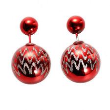 Rojo Navidad Ondulación Doble Bola Zarcillos, En Bolsa De Regalo & Envío Mismo Día