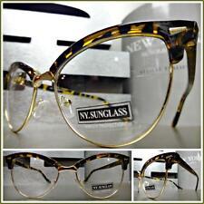 CLASSIC VINTAGE RETRO CAT EYE Style Clear Lens EYE GLASSES Tortoise & Gold Frame