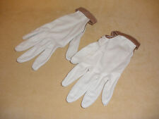 1960's Ladies Beige Gloves w/ Open Side Panels & Coco Brown Accents