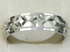 10k White Gold .417 Etched & Satin Finish Wedding Band Fine Ring-Size 9.75