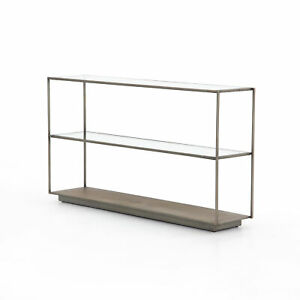 """55"""" W Meghan Console Table Etched Brass Base Shelf Tempered Glass Iron Frame"""