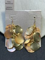 Vintage Pale Pink Shell Mother Of Pearl Pierced Earrings Drop Dangle Gold Tone