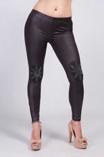 Elastane Wet look, Shiny Regular Size Leggings for Women
