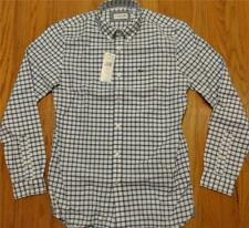 Mens Lacoste LS Windowpane Checked Button Up Woven Shirt White/Navy 44 XL