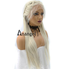 Anogol Braided Lace Front Wig With Baby Hair Blonde Long Straight Hair Full Wigs