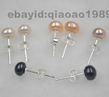 wholesale 20 Pairs 3mm 4mm 5mm 6mm 7-8mm button pearl studs earrings