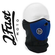 Blue Half Face Fleece & Neoprene Mask With Mesh Ventilation Dirtbike Moto Suzuki