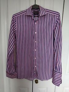 """Men's Formal Pink And Purple Strip Long Sleeve Cufflink Shirt From M&S size 16"""""""